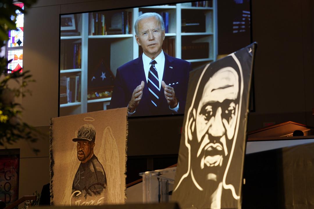2020年6月9日,民主黨總統候選人拜登在喬治·弗洛伊德(George Floyd)喪禮上通過視頻向現場人士講話。