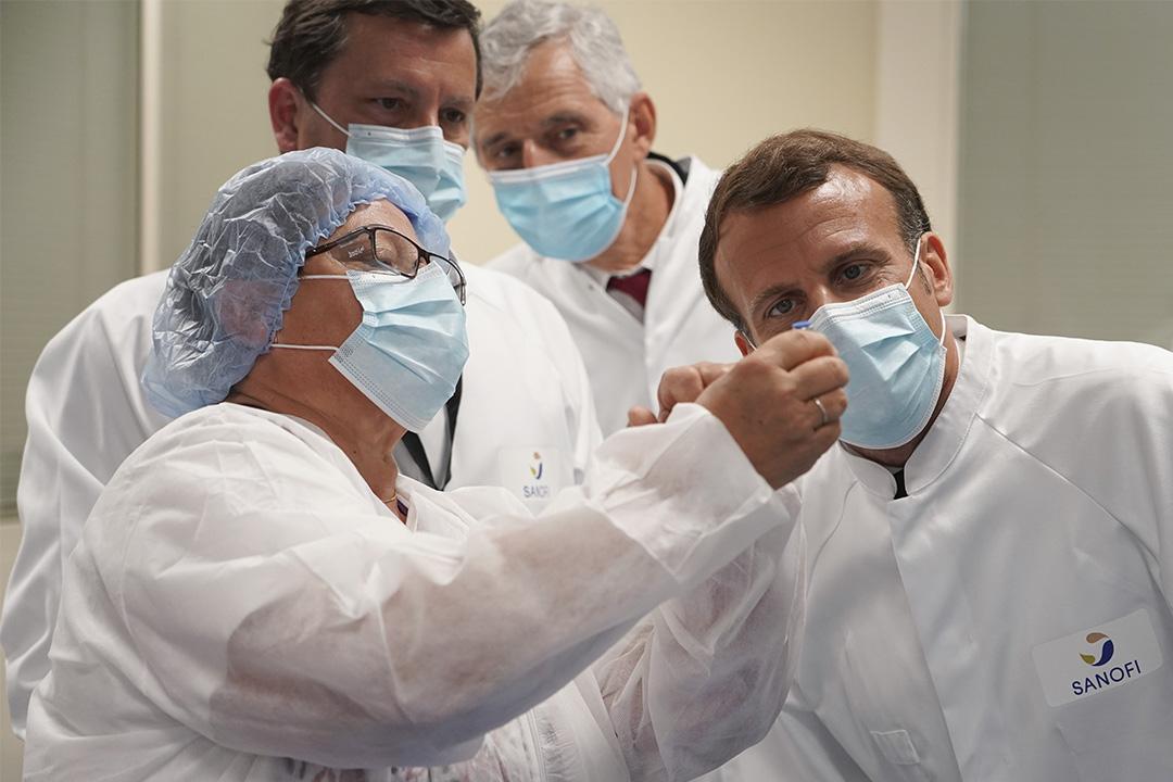 2020年6月16日法國中部里昂,法國總統馬克龍參觀了法國製藥商疫苗部門Sanofi Pasteur 的實驗室。