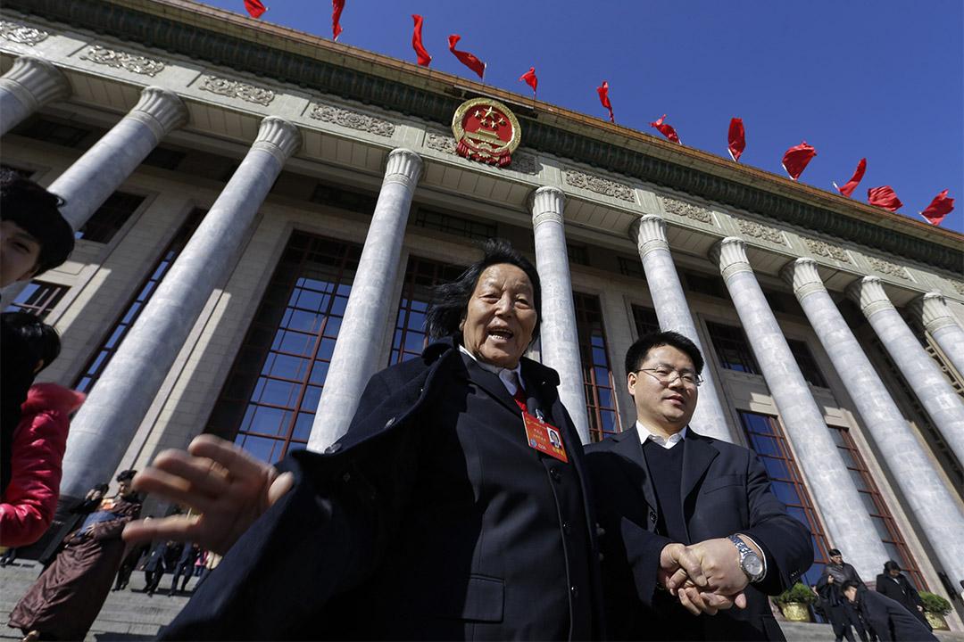 2014年3月4日北京,中國人民代表大會會議之後申紀蘭離開人民大會堂。 攝:Jason Lee/Reuters/達志影像