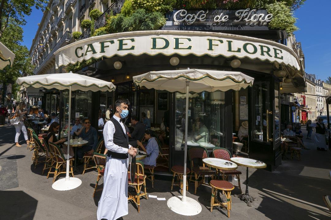 2020年6月2日,法國巴黎大街上的餐廳。