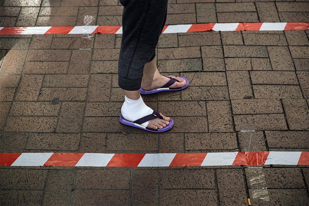2020年7月11日大埔,市民在排隊等候進入票站,參加民主派35+公民投票。