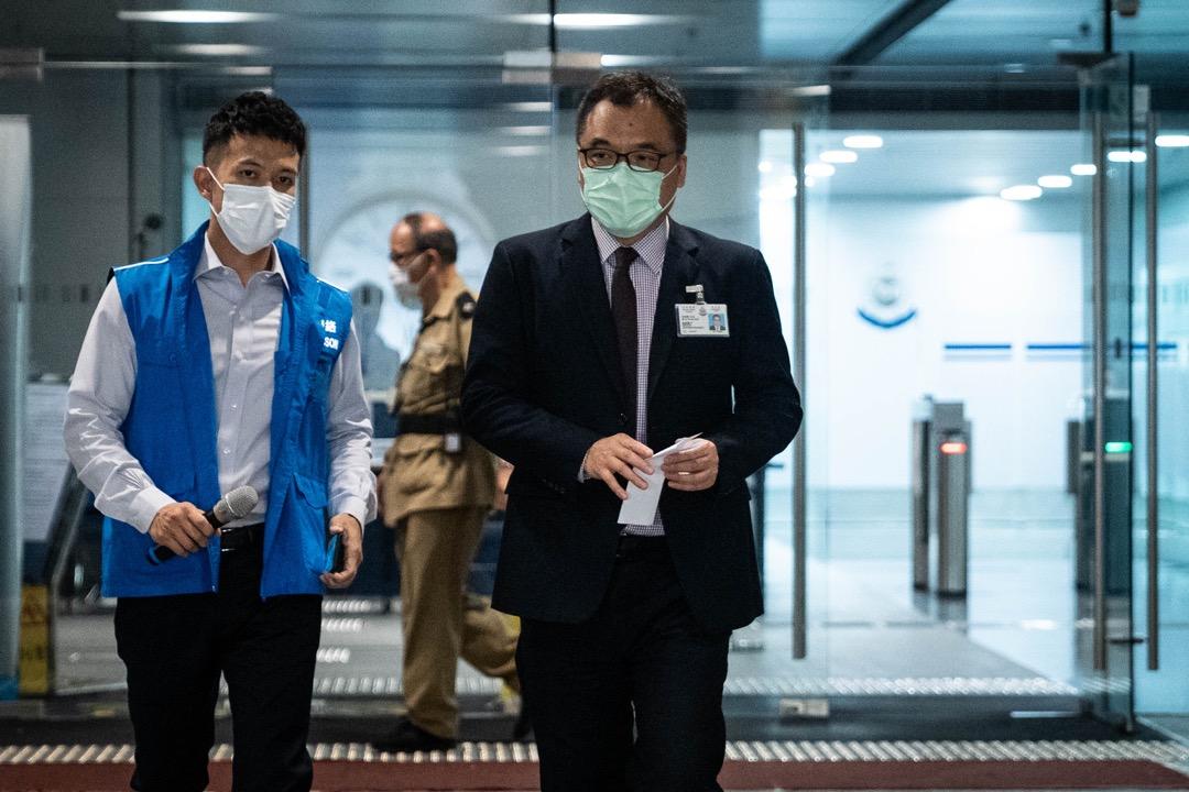 2020年7月29日,國家安全處高級警司李桂華在警察總部外召開記者會。