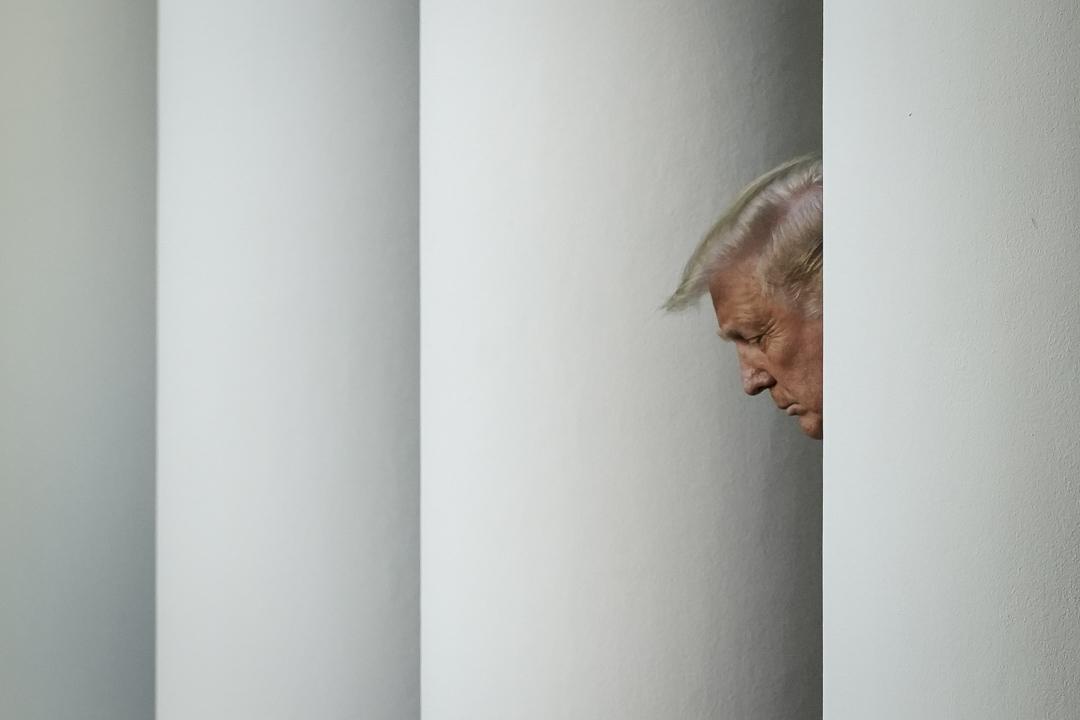 2020年7月14日,美國總統特朗普於華盛頓白宮玫瑰花園舉行記者會。 攝:Drew Angerer/Getty Images