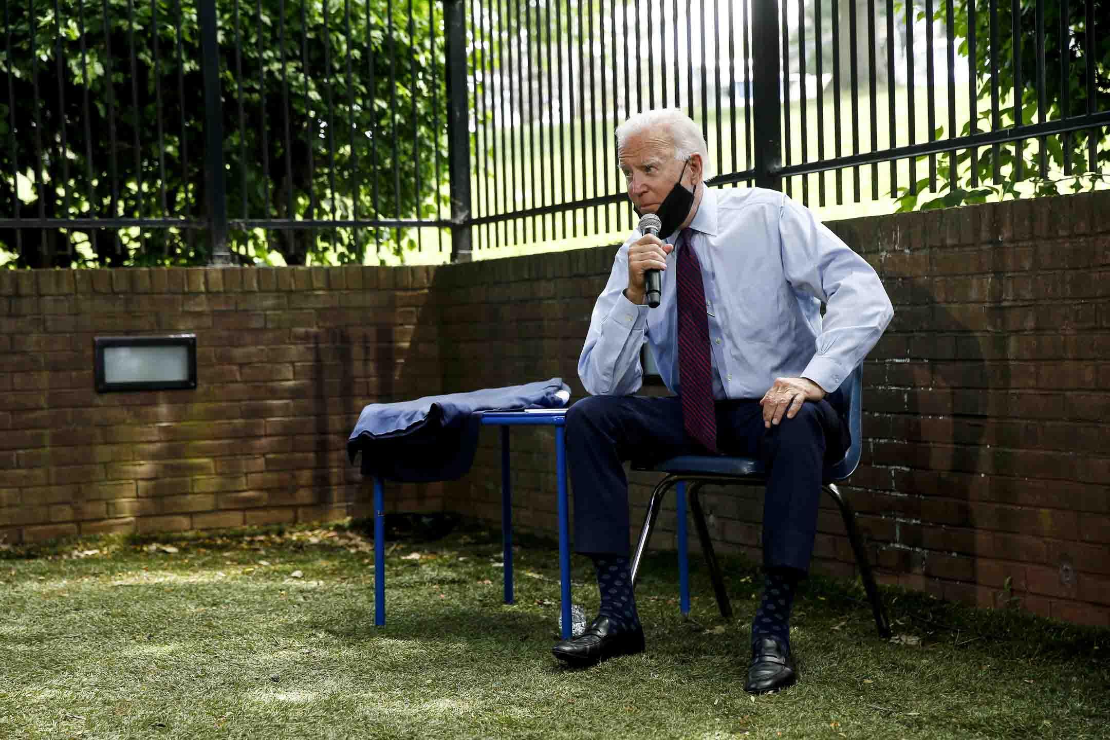 2020年6月25日,民主黨總統候選人拜登在賓夕法尼亞州蘭開斯特市進行家庭演講。 攝:Matt Slocum/AP/達志影像