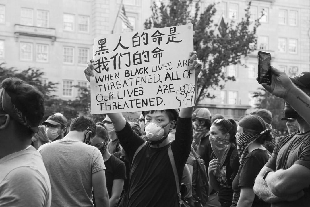 2020年6月2日,在華盛頓白宮附近參與抗議的Jackie。 攝影:董孟渝