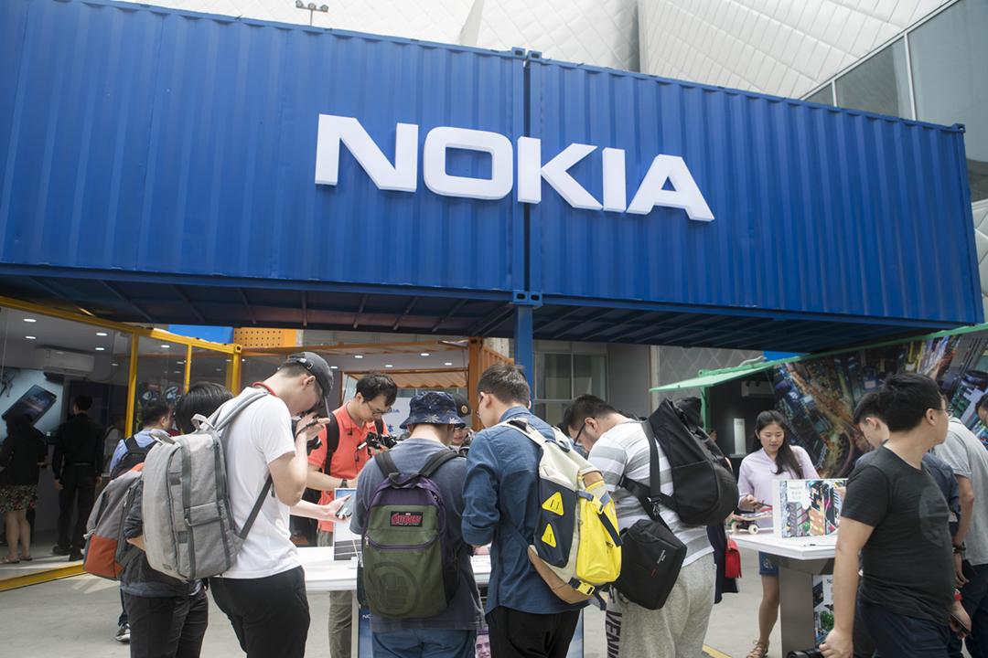 2018年5月16日,諾基亞(Nokia)在中國北京舉辦商品展銷。 攝:Giulia Marchi / Bloomberg via Getty Images