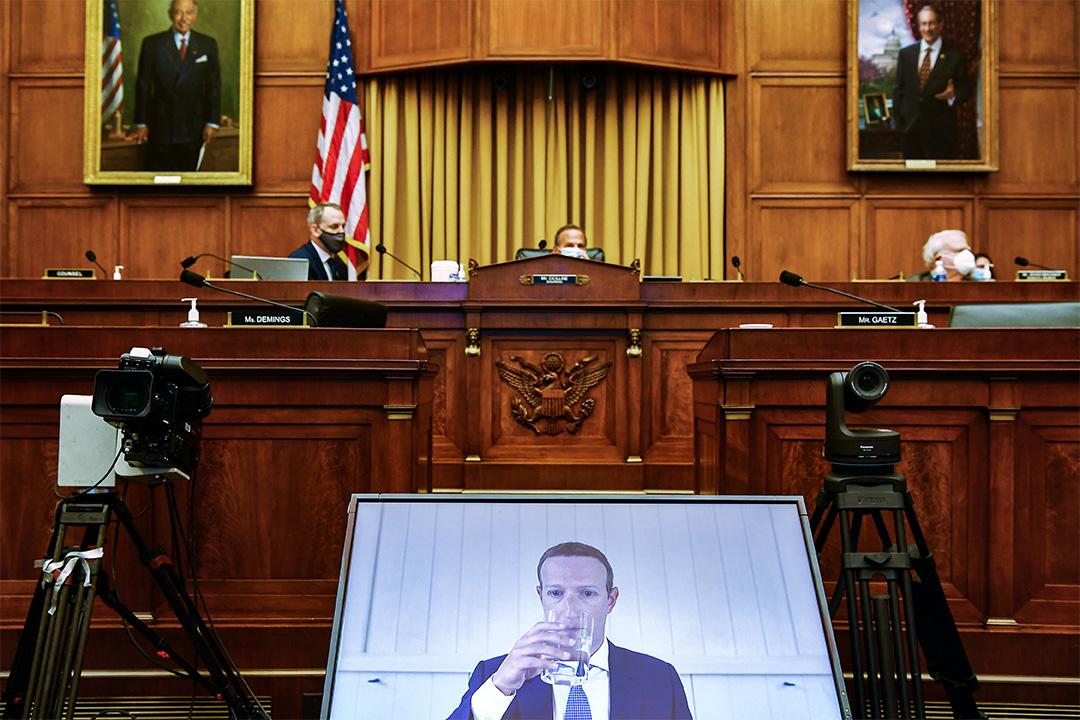 2020年7月29日華盛頓特區國會山,Facebook首席執行官馬克·扎克伯格就對眾議院司法小組委員會作證。