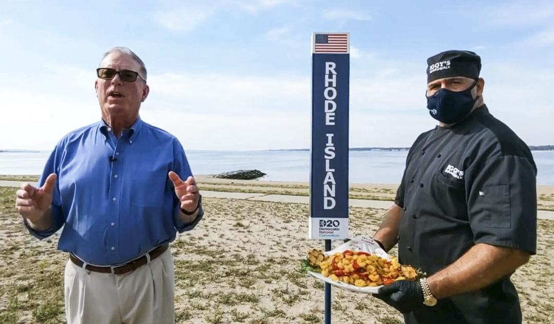 羅德島州民主黨主席Joseph McNamara將唱票場地選在當地著名的奧克蘭沙灘,向全美觀眾介紹當地特色菜炸魷魚,大廚John Bordieri捧着一大盤金黃色的炸魷魚站在黨主席身旁。