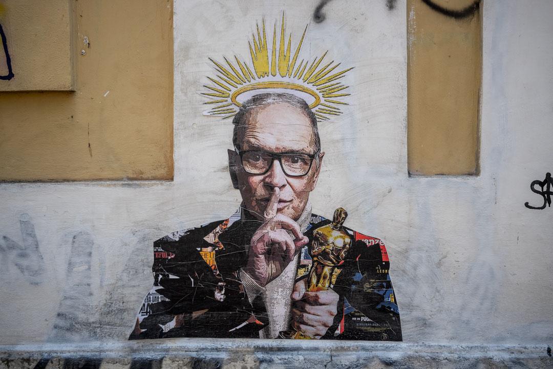 2020年7月7日,意大利羅馬,已故音樂家Ennio Morricone的壁畫。