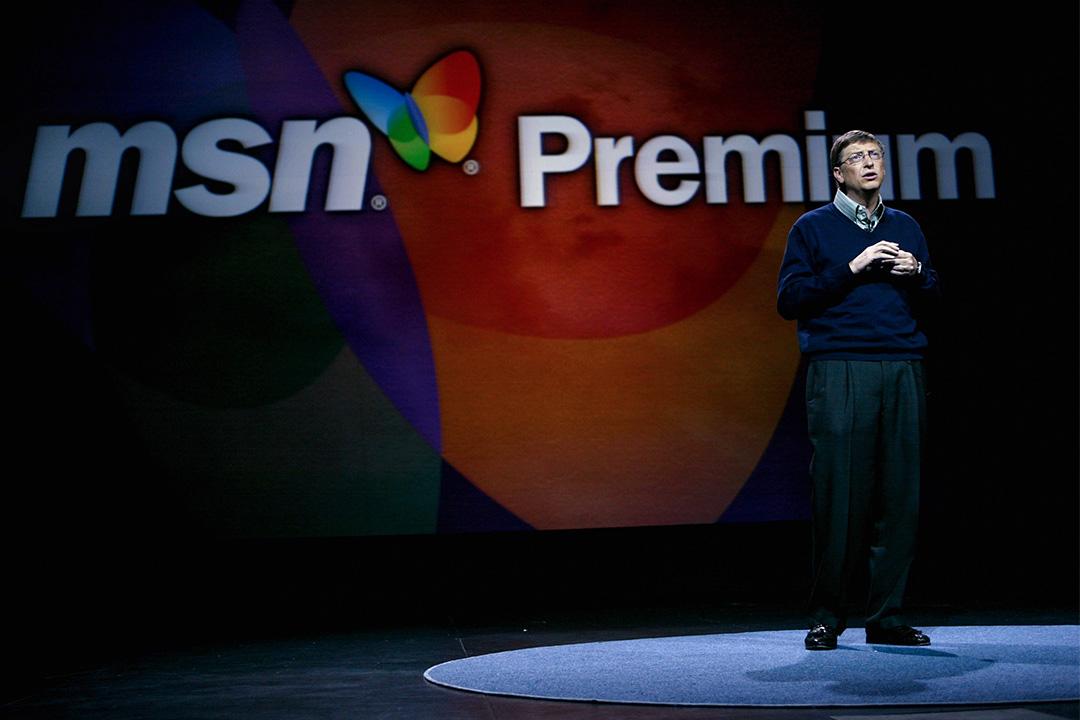微軟公司董事長比爾·蓋茨在2004年國際消費電子展上致開幕詞,並在拉斯維加斯介紹新的MSN Premium服務。