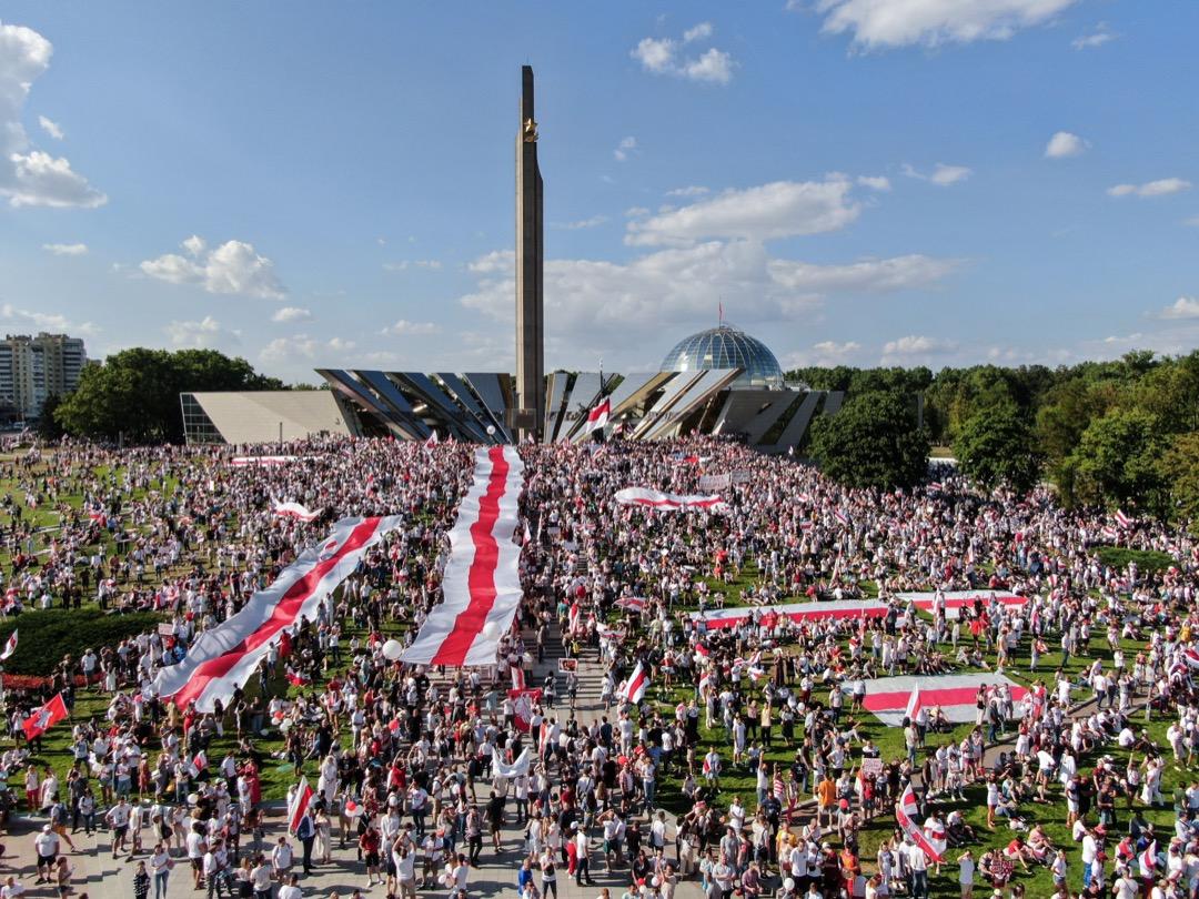 2020年8月16日,至少20萬人在白羅斯首都明斯克市中心聚集,要求總統盧卡申科下台。
