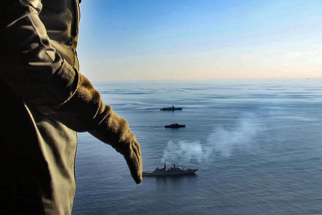 2019年12月28日,軍艦在伊朗、俄羅斯和中國聯合海軍演習中。 圖:Iranian Army via AP/達志影像