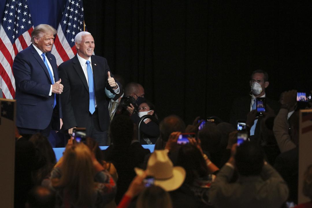 2020年8月24日,美國共和黨全國代表大會(2020 RNC)於北卡羅萊納州夏洛特會議中心揭幕,首日大會提名特朗普及彭斯(Mike Pence)為正副總統候選人。 攝:Travis Dove / The New York Times / Bloomberg via Getty Images