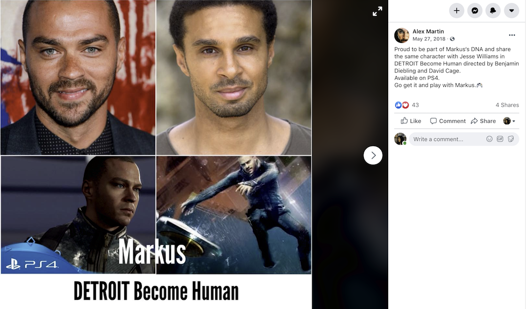 《底特律》角色Markus 的面孔與身體。