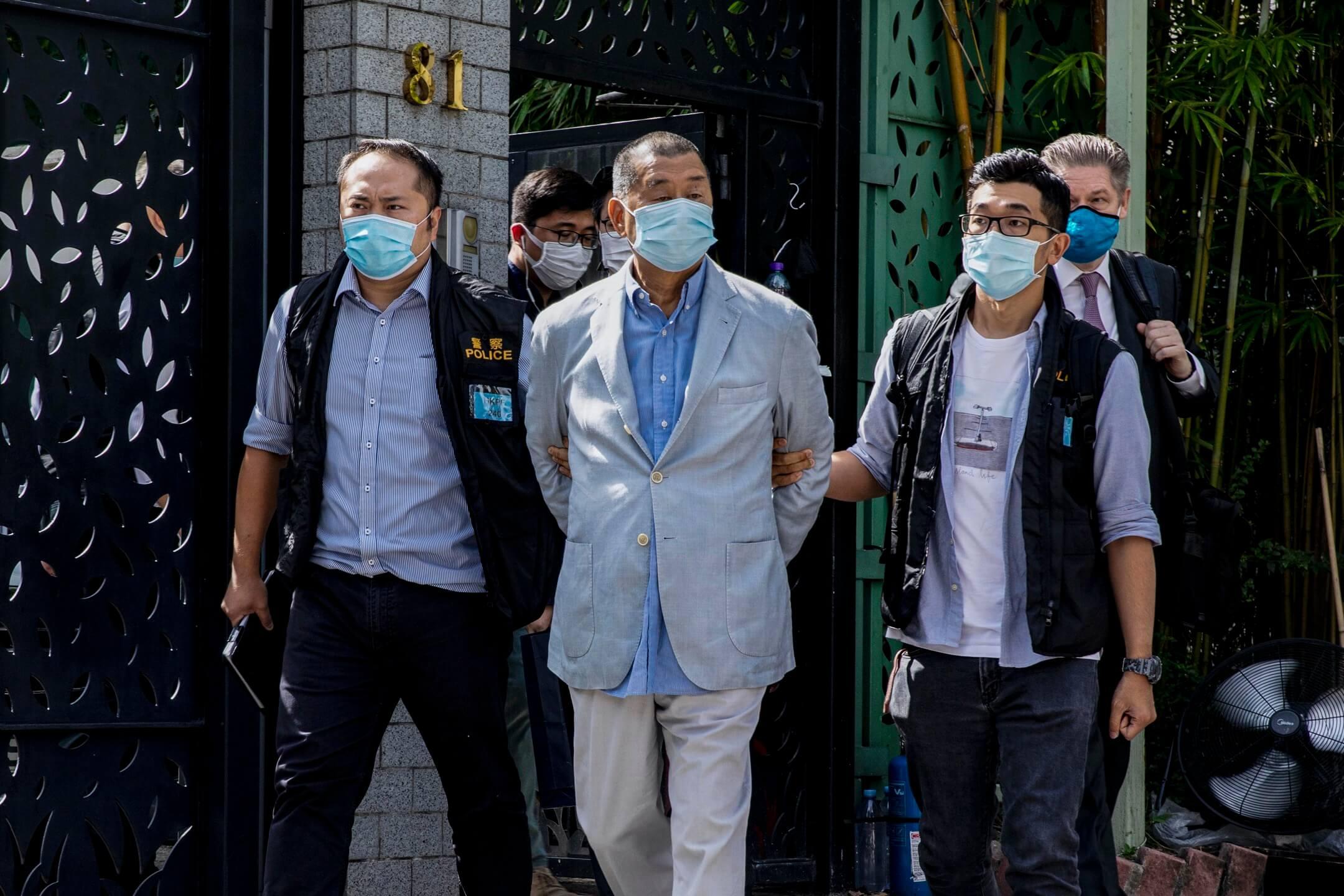 2020年8月10日,《壹傳媒》創辦人黎智英早上在寓所被捕,涉及觸犯國安法罪行。 攝:陳焯煇/端傳媒