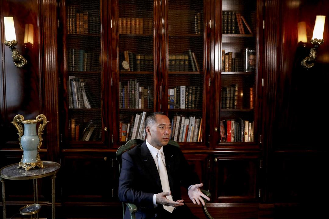 2017年4月30日,郭文貴在美國紐約接受採訪。