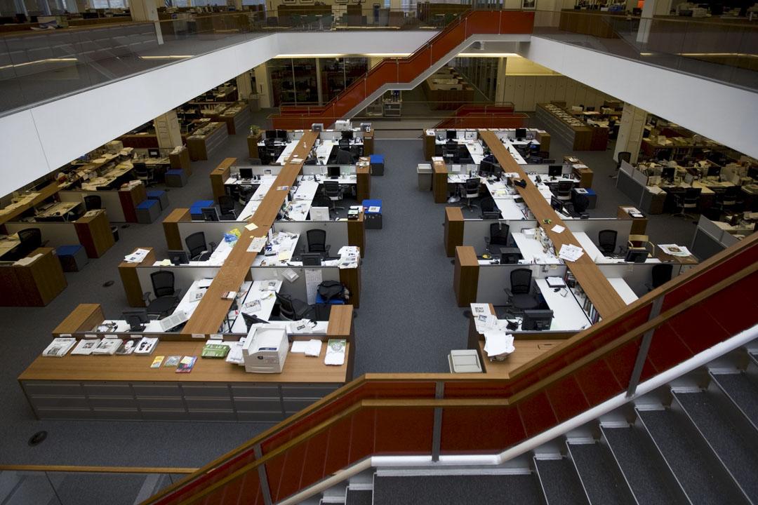 美國《紐約時報》編輯部,拍攝於2008年。