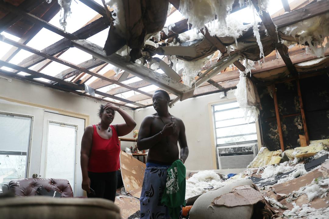 2020年8月27日,美國路易斯安那州遭遇四級颶風勞拉(Laura)侵襲,大量房屋損毀。 攝:Joe Raedle/Getty Images