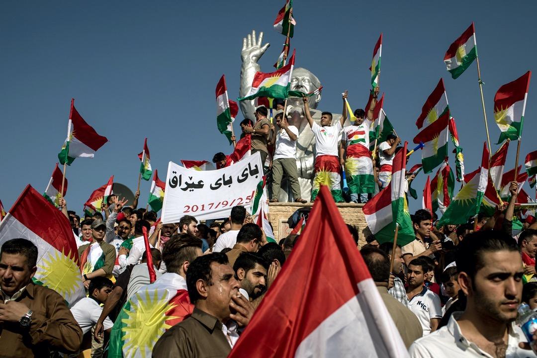 2017年9月,伊拉克庫伊德斯坦首都艾比爾,總統巴爾扎尼的支持者舉行獨立公投集會。