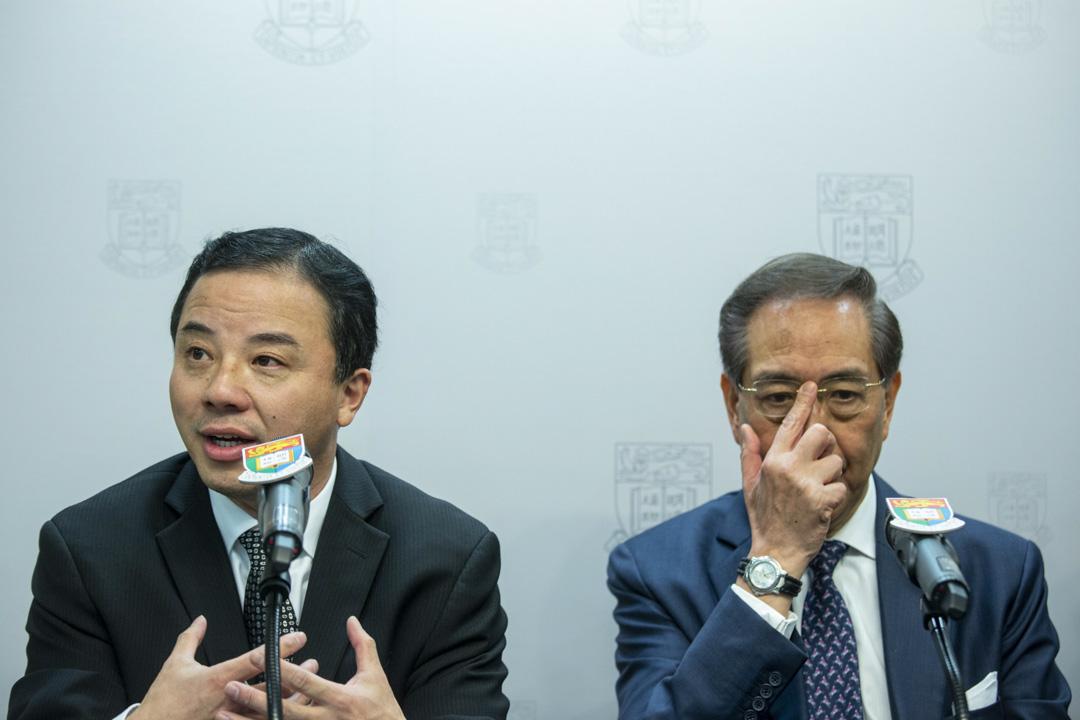 2017年12月15日,張翔獲委任為香港大學第16任校長,與校委會主席李國章一起見記者。