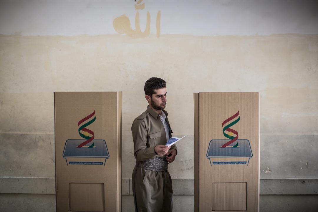 2017年9月25日,伊拉克庫爾德斯坦獨立公投的票站。