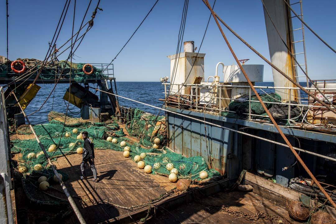 海底的淤泥被漁網拖上船,深陷在甲板的空隙裏。
