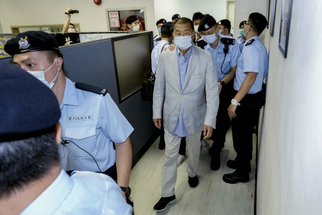 2020年8月10日,壹傳媒創辦人黎智英被香港警方帶走。 圖:蘋果日報提供