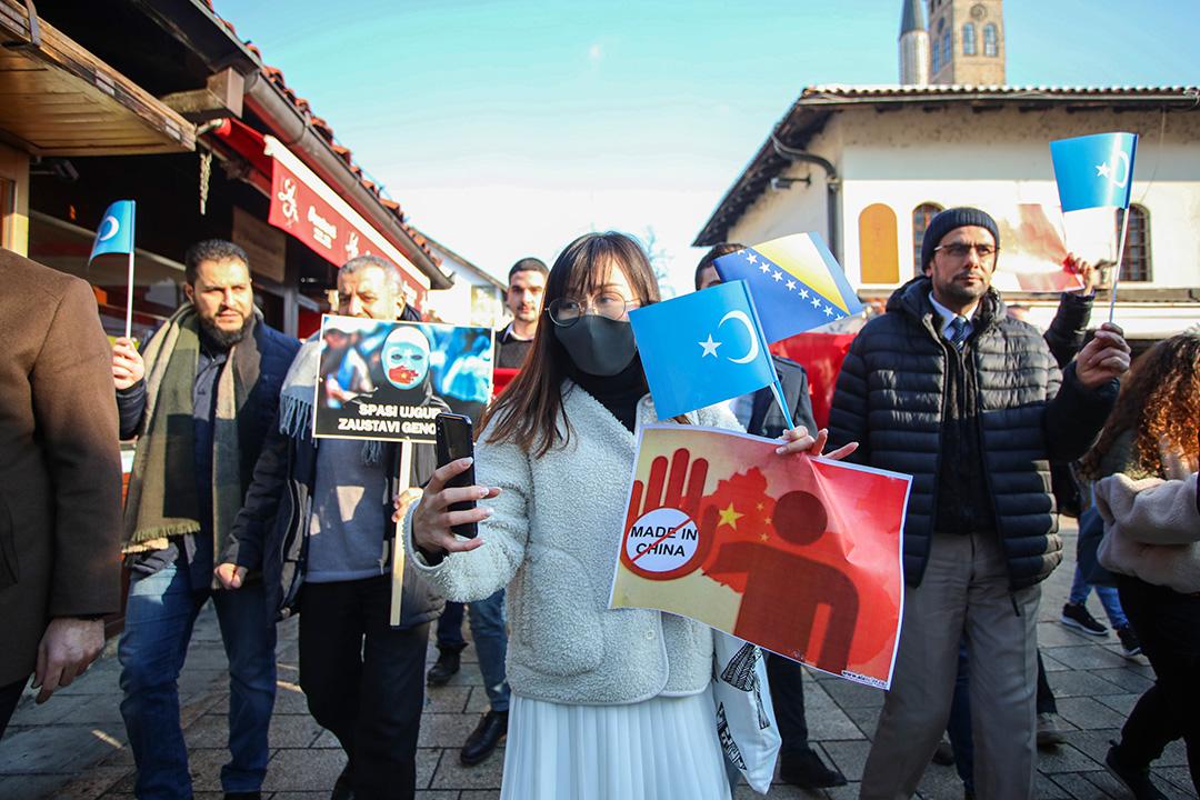 2020年1月12日薩拉熱窩,市民參加示威,反對中國政府對維吾爾人的迫害。