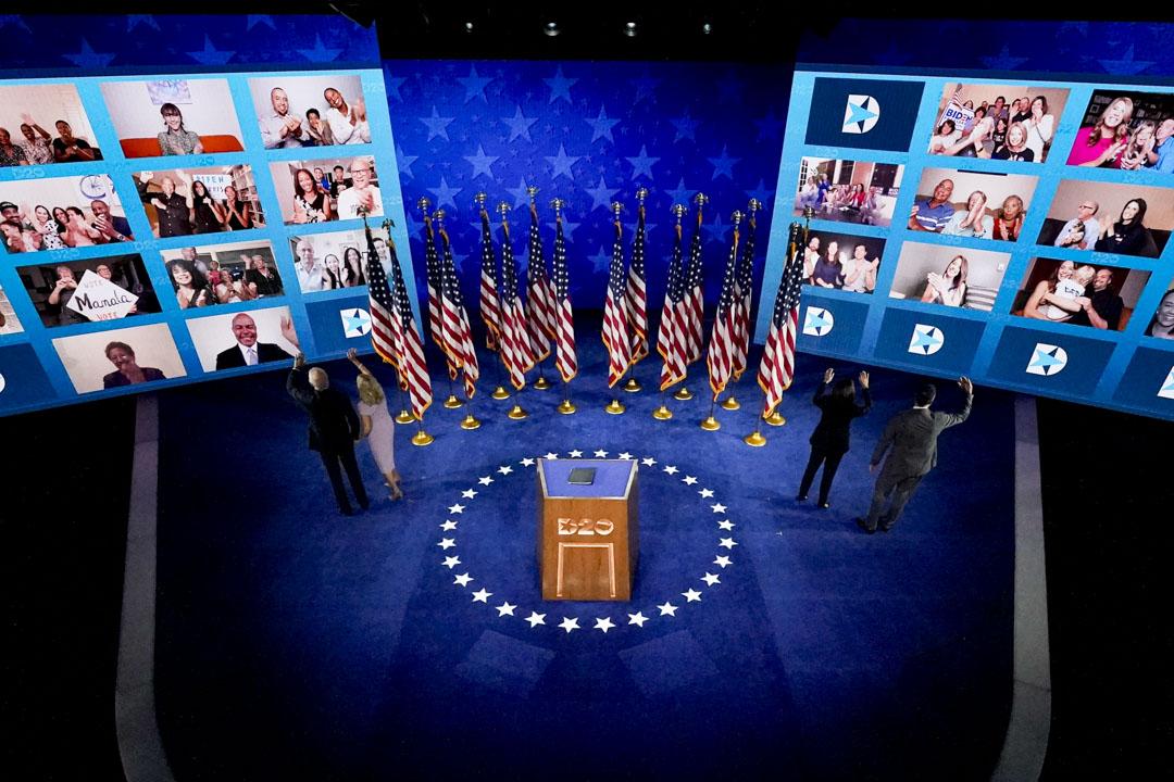 2020年8月20日,民主黨全國代表大會第四天,民主黨總統候選人拜登和妻子向支持者揮手。