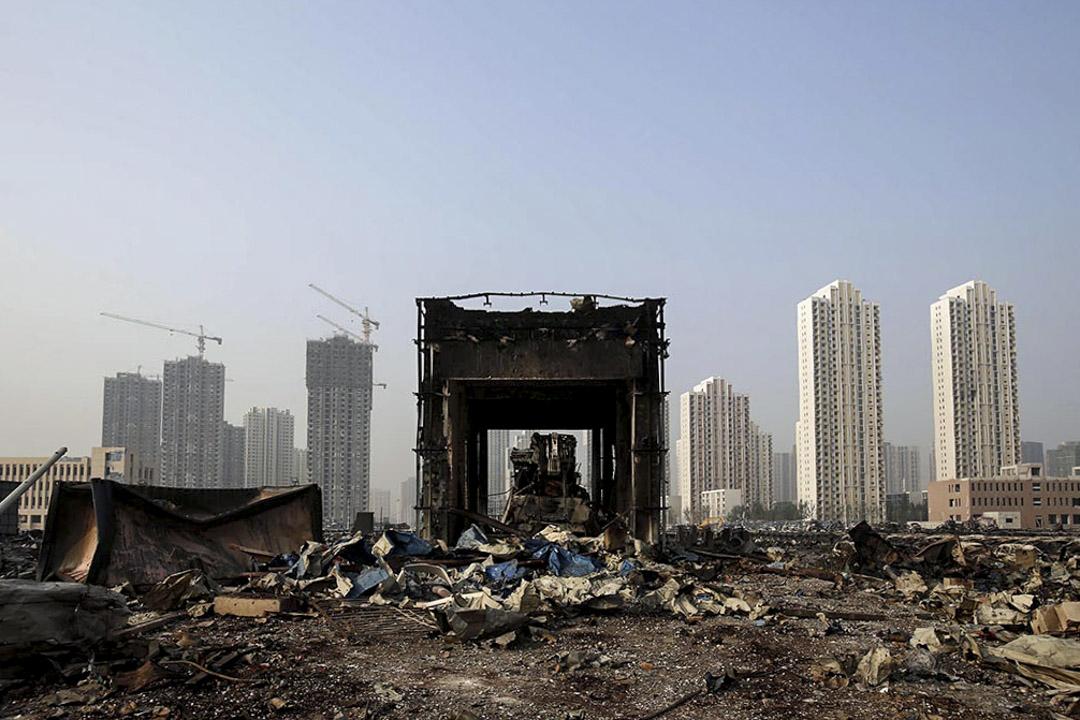 2015年8月16日,天津爆炸後的一座損壞建築物。