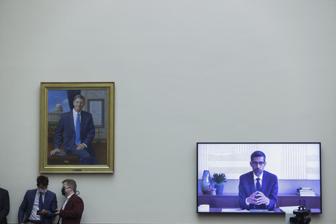2020年7月29日,Google首席執行官Sundar Pichai華盛頓舉行的眾議院司法小組委員會聽證會。
