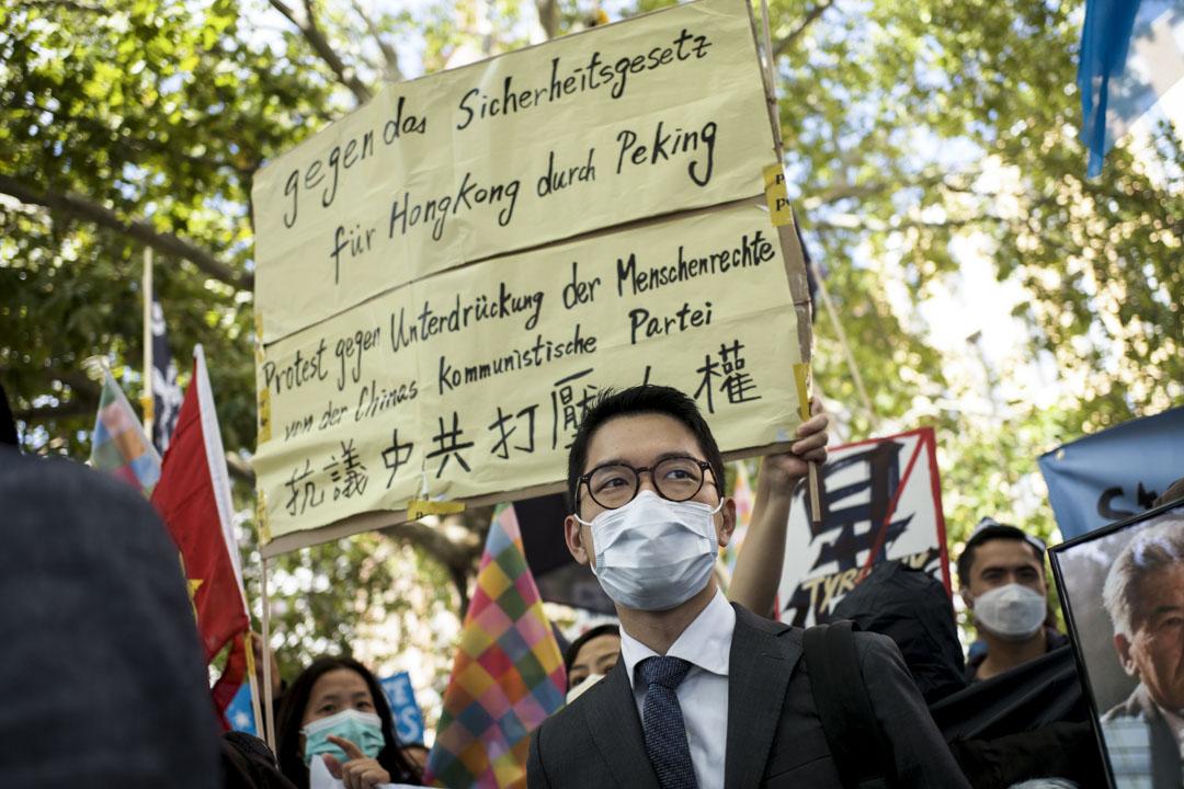 2020年9月1日,中國外交部長王毅訪德國期間,羅冠聰參加抗議活動,抗議中國政府打壓人權。