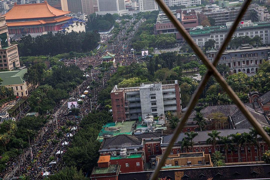 2014年3月30日,抗議者在台北集會,反對海峽兩岸服務貿易協議。