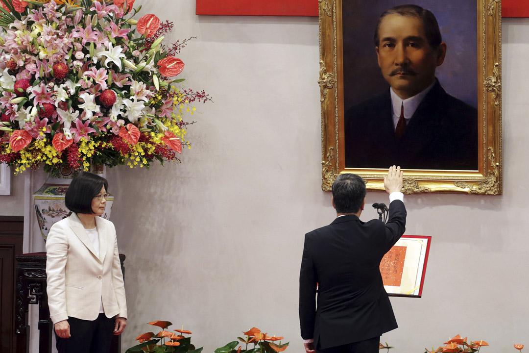 2016年5月20日,台灣舉行的總統府就職典禮上,蔡英文宣誓就職。