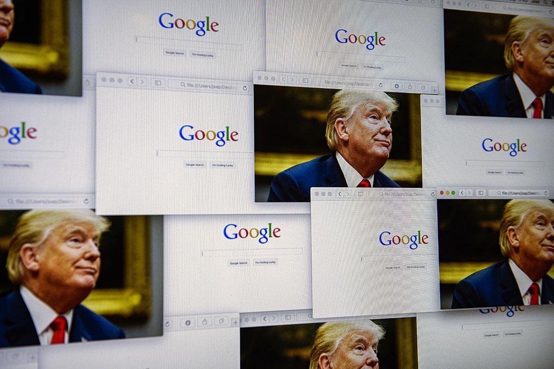 2018年9月5日唐納德·特朗普的照片與Google徽標。 攝:Jaap Arriens/NurPhoto via Getty Images