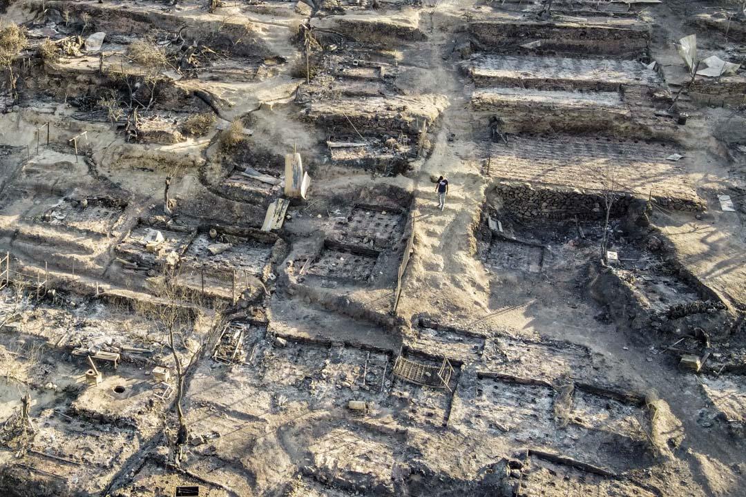 2020年9月9日,希臘萊斯沃斯島、莫里亞難民營被火災燒成灰燼。