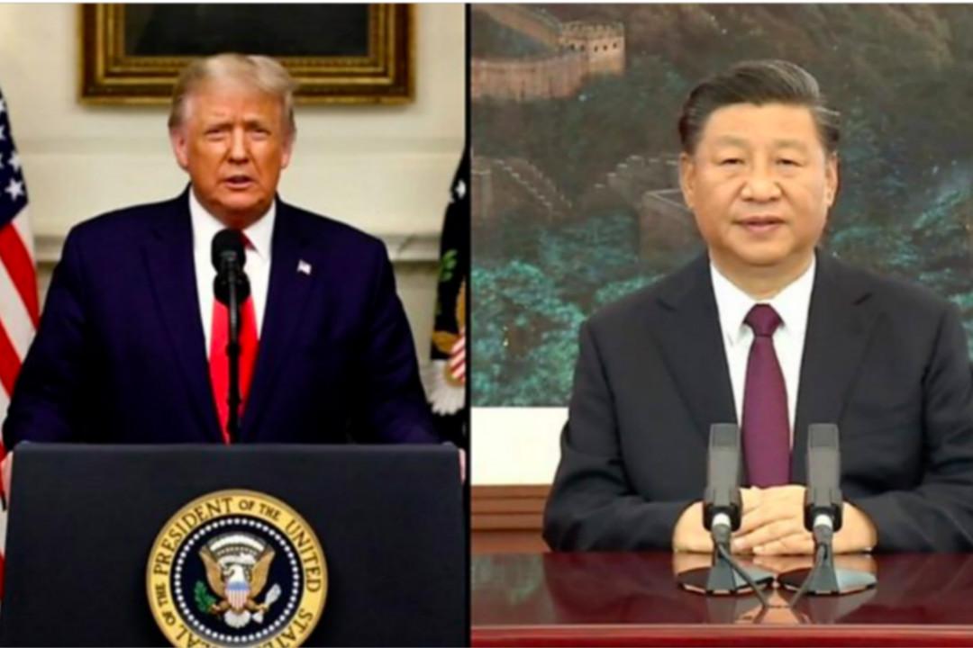 2020年9月22日,聯合國大會一般性辯論,特朗普和習近平以錄像形式發言。 圖片來自錄像截圖