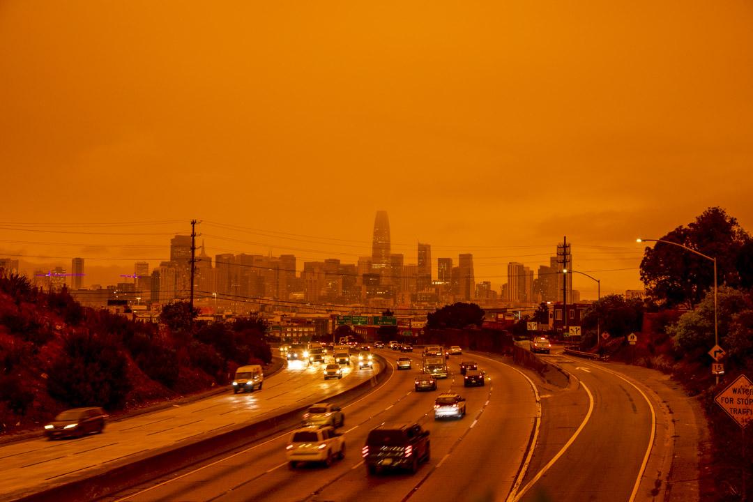 2020年9月9日,加州三藩市灣區的橙色天空。