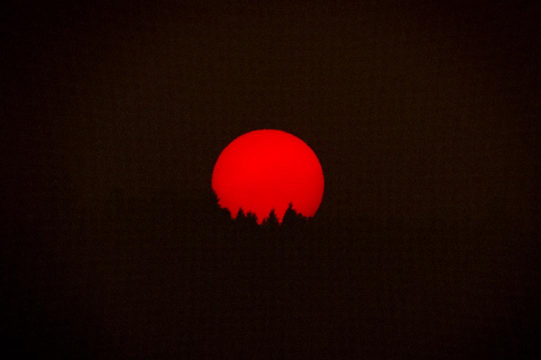 2020年9月9日,美國俄勒岡州和華盛頓州南部的山火染紅了天空,令日落的太陽比平常顯得更紅。