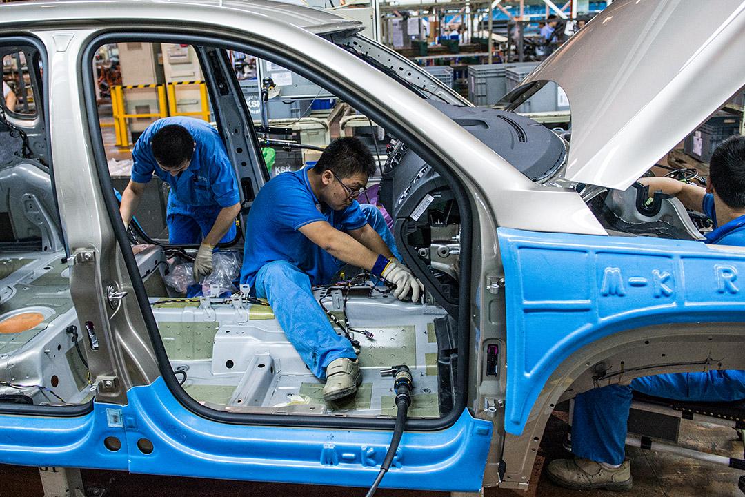 2015年11月11日上海,大眾汽車工廠。