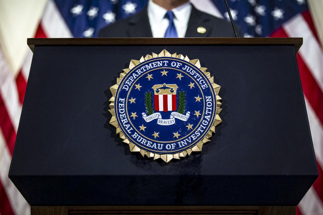 美國華盛頓的聯邦調查局(FBI)總部舉行的一場記者會。 攝:Al Drago/Bloomberg via Getty Images