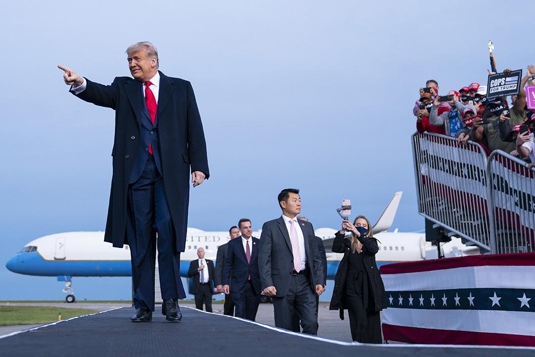 2020年9月19日,唐納德·特朗普總統於北卡羅來納州費耶特維爾舉行競選集會上。