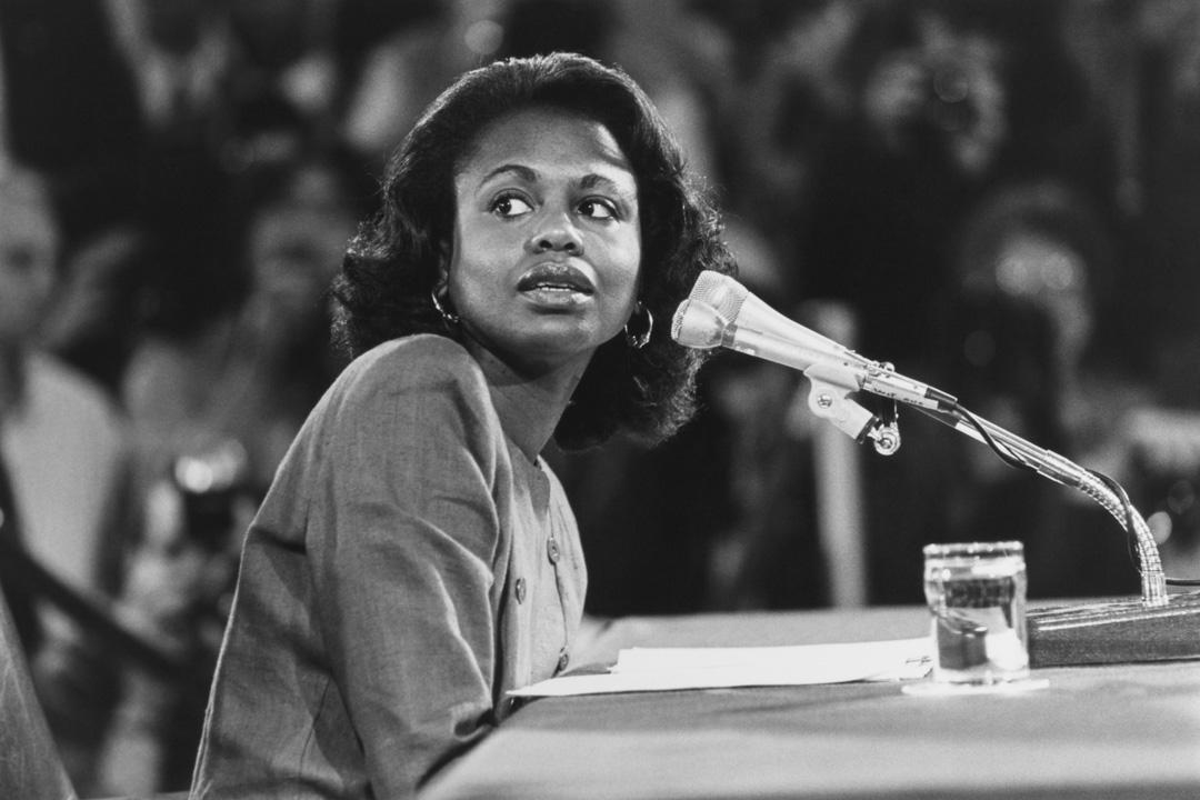 1991年10月14日,阿妮塔·希爾(Anita Hill)於在參議院司法委員會作證。