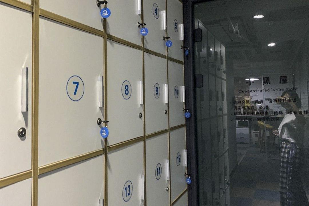 北京海淀區蝸牛自習室儲物櫃。