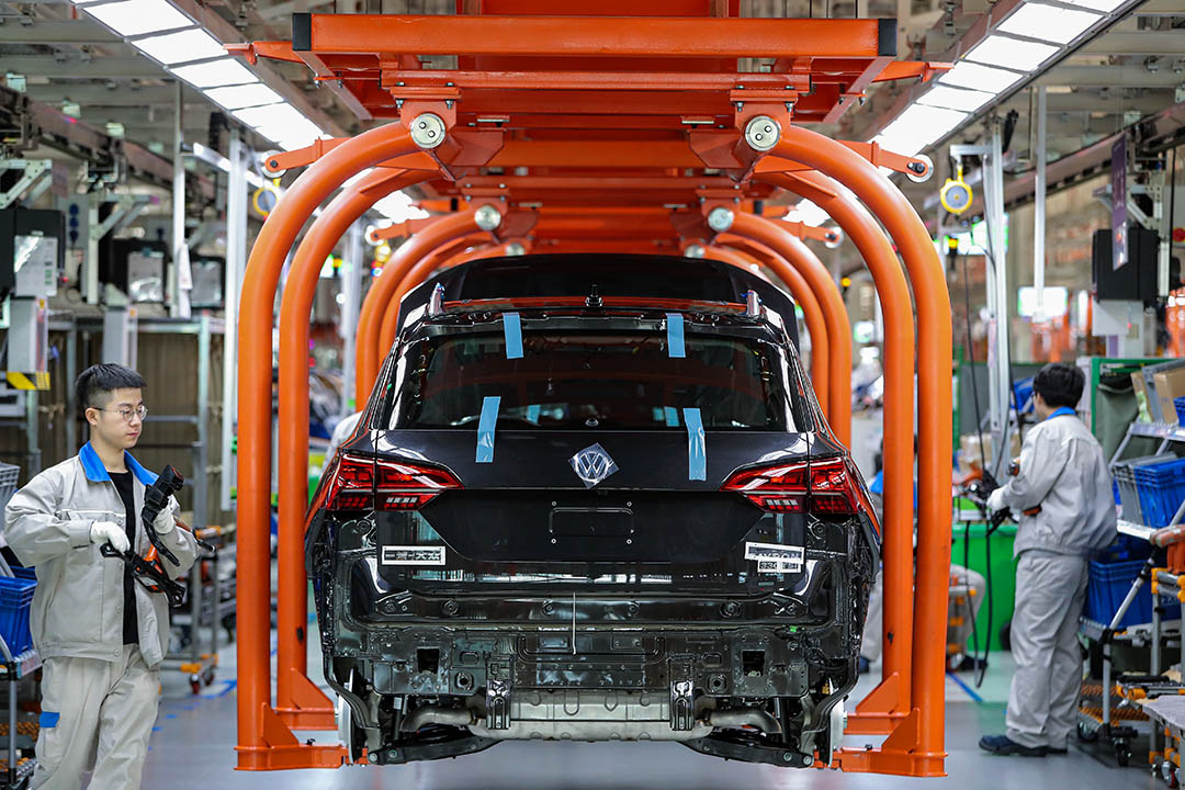 2019年12月5日天津,大眾汽車的製造廠生產線。