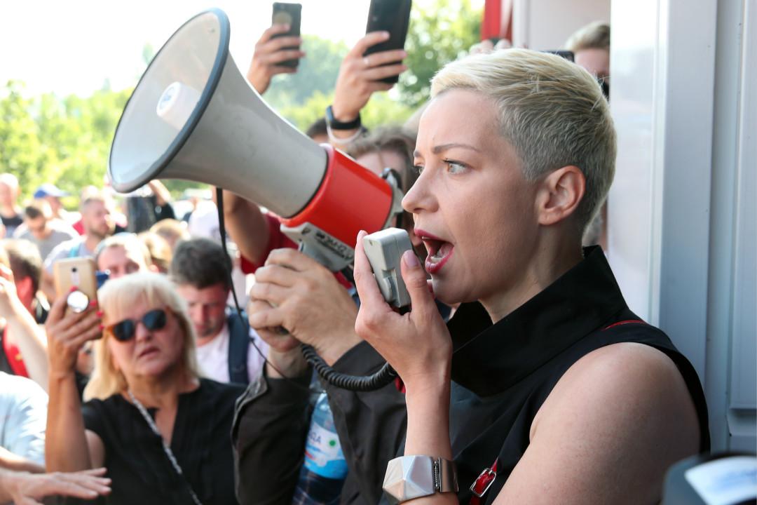 2020年8月17日,白羅斯反對派領袖科列斯尼科娃(Maria Kolesnikova)發表集會演講。 攝:Natalia Fedosenko/Getty Images