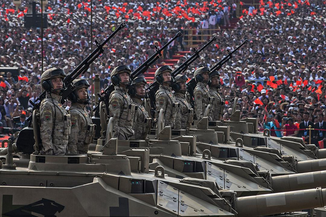 2019年10月1日北京天安門廣場,中國軍人慶祝1949年中華人民共和國成立70週。