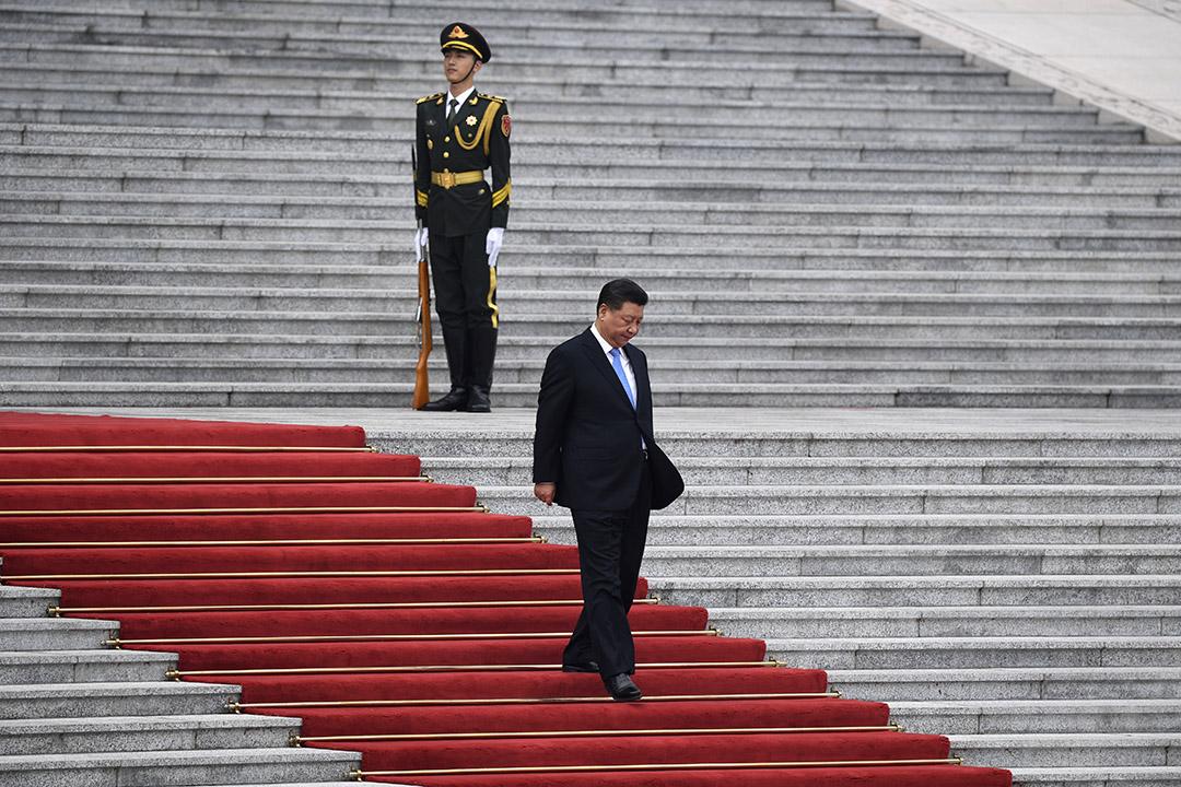 2019年4月29日,中國國家主席習近平在中國北京的人民大會堂參加瑞士總統Ueli Maurer的歡迎儀式。