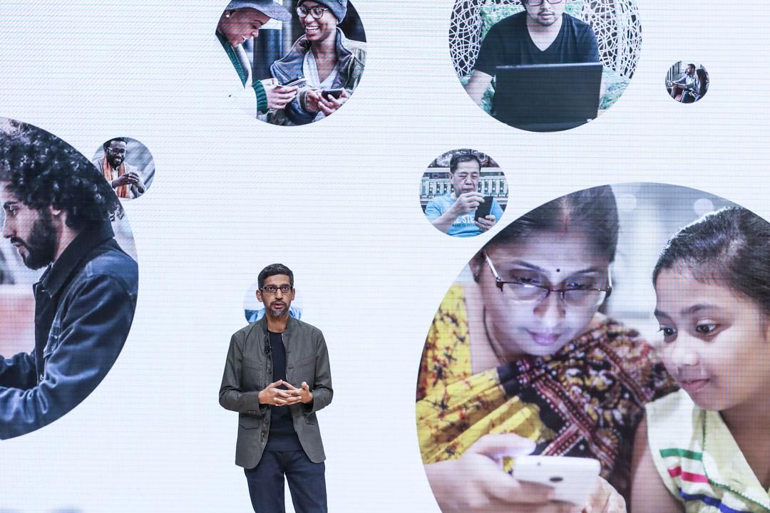 2019年3月19日,加州舉行的GDC遊戲開發者大會上,Google首席執行官Sundar Pichai發表講話。 攝:Justin Sullivan/Getty Images
