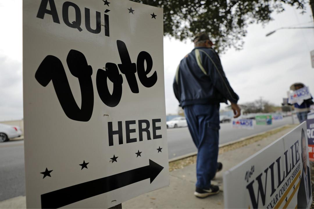 2020年3月3日,美國德州初選一處投票站。 攝:Edward A. Ornelas/Getty Images